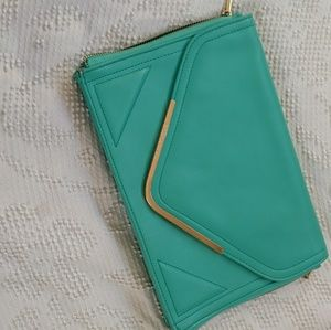 BCBGeneration large teal clutch purse